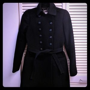 J.Crew black double cloth townhouse trench coat